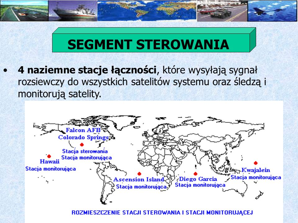 SEGMENT STEROWANIA 4 naziemne stacje łączności, które wysyłają sygnał rozsiewczy do wszystkich satelitów systemu oraz śledzą i monitorują satelity.
