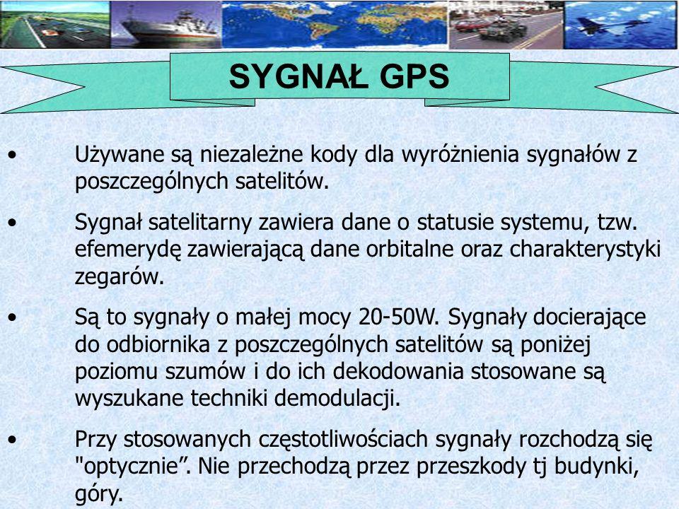 SYGNAŁ GPS Używane są niezależne kody dla wyróżnienia sygnałów z poszczególnych satelitów.
