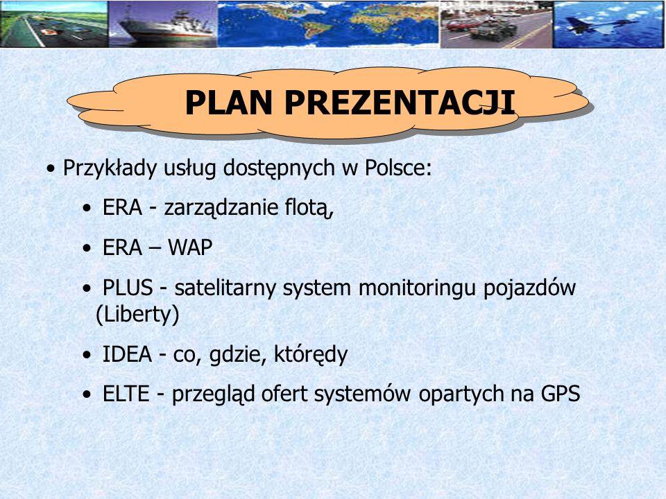 PLAN PREZENTACJI Przykłady usług dostępnych w Polsce: