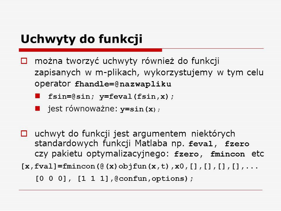 Uchwyty do funkcji można tworzyć uchwyty również do funkcji zapisanych w m-plikach, wykorzystujemy w tym celu operator fhandle=@nazwapliku.