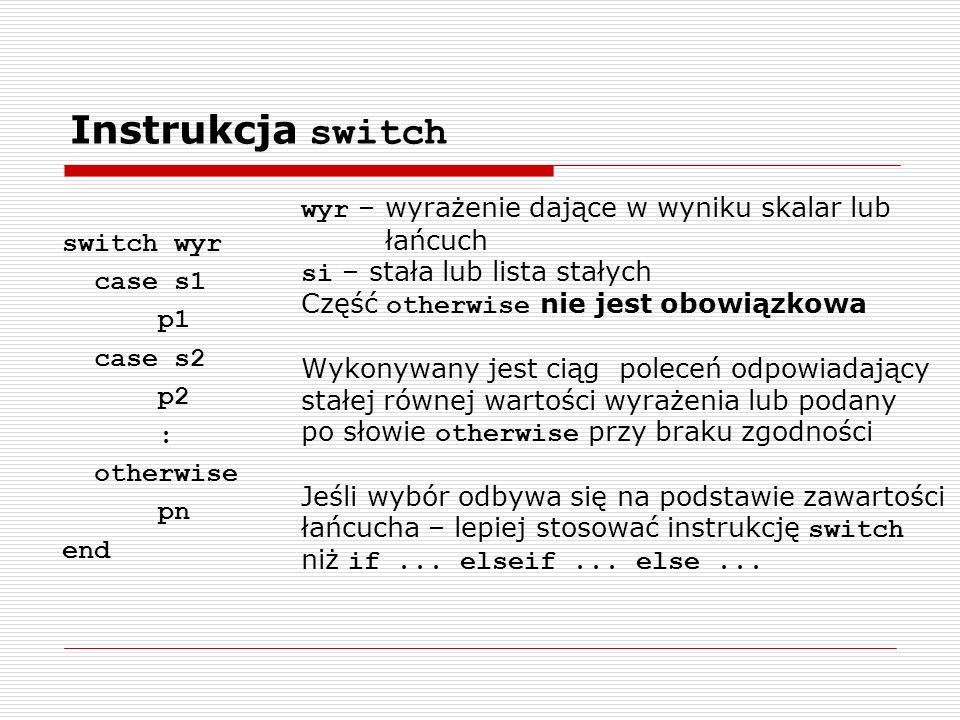 Instrukcja switch wyr – wyrażenie dające w wyniku skalar lub łańcuch