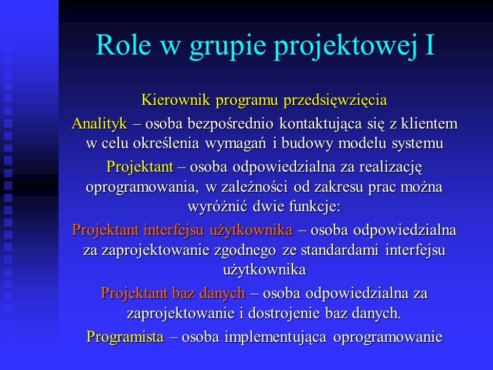 Role w grupie projektowej I