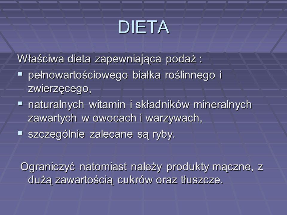 DIETA Właściwa dieta zapewniająca podaż :