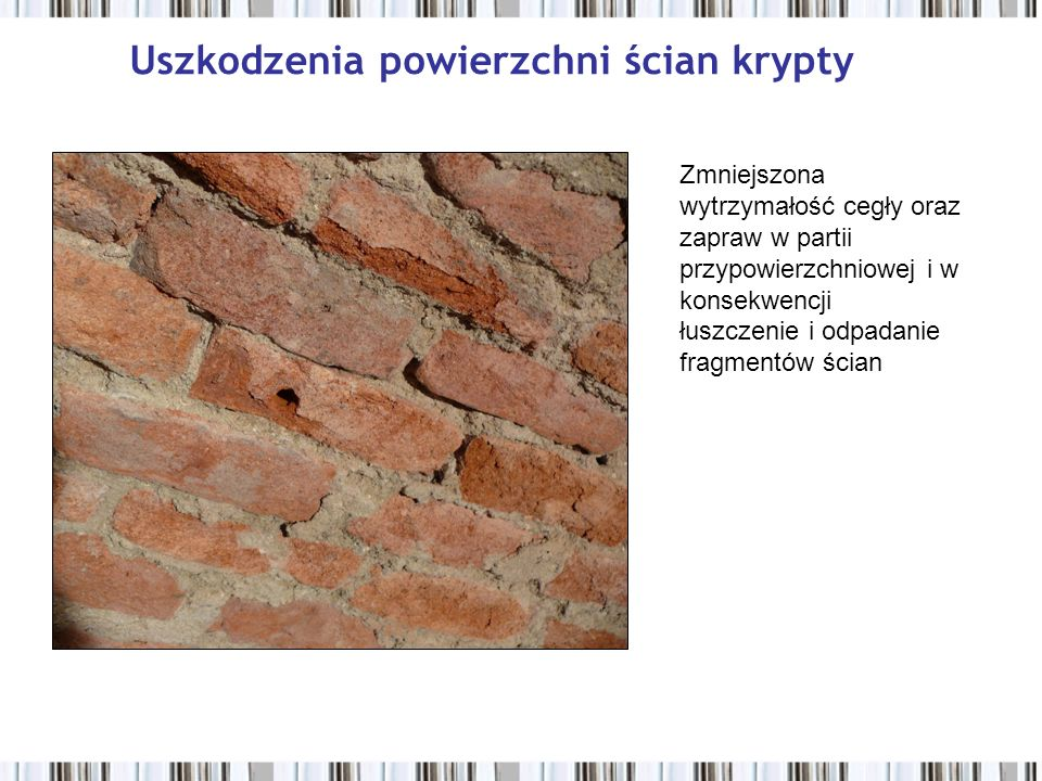 Uszkodzenia powierzchni ścian krypty