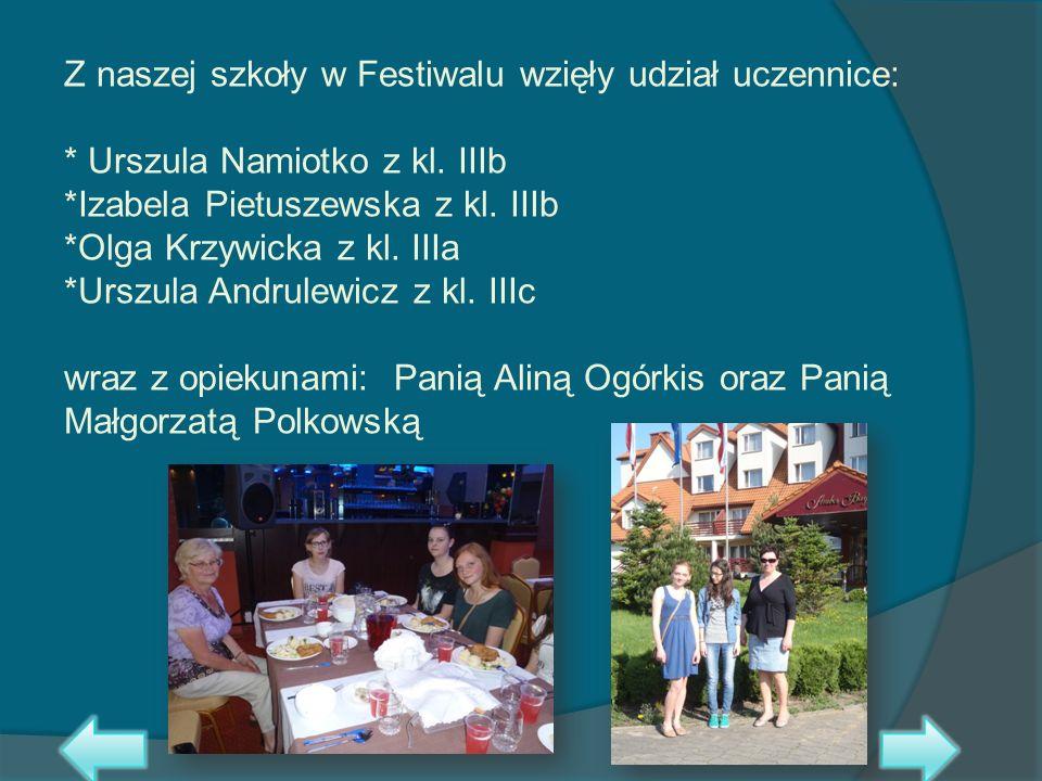 Z naszej szkoły w Festiwalu wzięły udział uczennice: