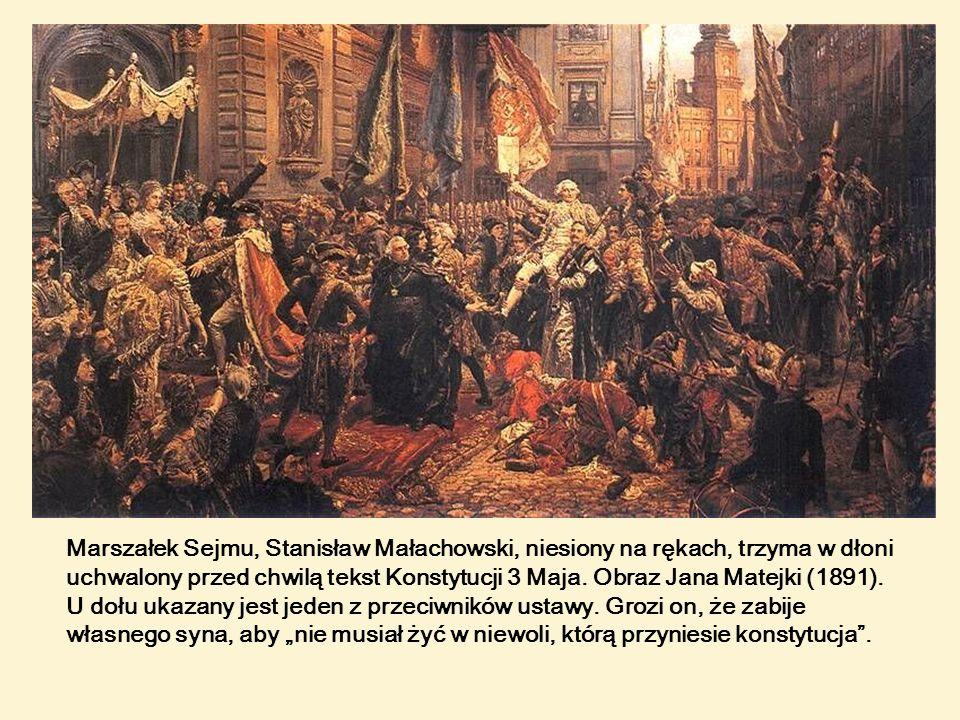 Marszałek Sejmu, Stanisław Małachowski, niesiony na rękach, trzyma w dłoni uchwalony przed chwilą tekst Konstytucji 3 Maja.