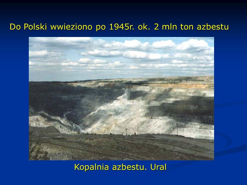 Do Polski wwieziono po 1945r. ok. 2 mln ton azbestu