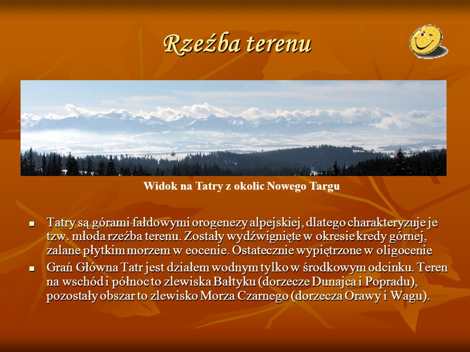 Rzeźba terenu Widok na Tatry z okolic Nowego Targu.