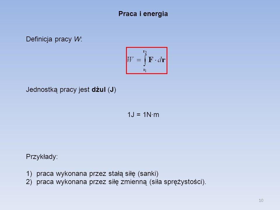 Praca i energia Definicja pracy W: Jednostką pracy jest dżul (J) 1J = 1N·m. Przykłady: praca wykonana przez stałą siłę (sanki)