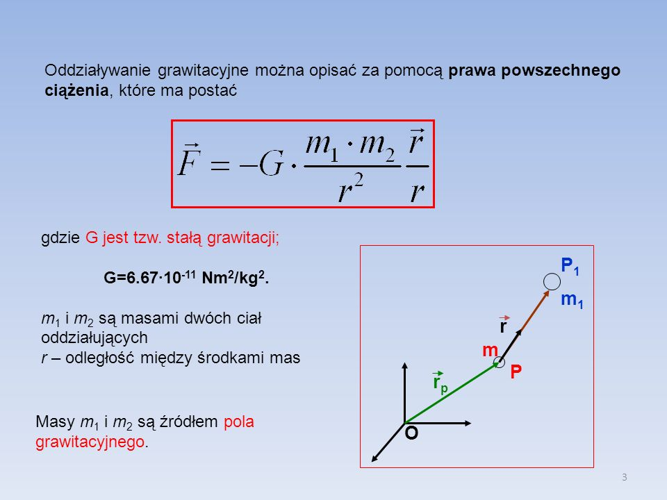 Oddziaływanie grawitacyjne można opisać za pomocą prawa powszechnego ciążenia, które ma postać