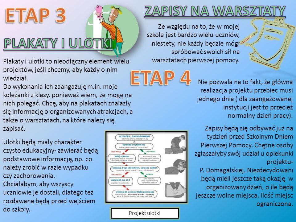 ETAP 3 ETAP 4 ZAPISY NA WARSZTATY PLAKATY I ULOTKI
