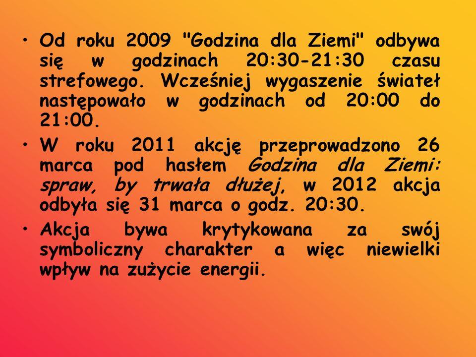 Od roku 2009 Godzina dla Ziemi odbywa się w godzinach 20:30-21:30 czasu strefowego. Wcześniej wygaszenie świateł następowało w godzinach od 20:00 do 21:00.