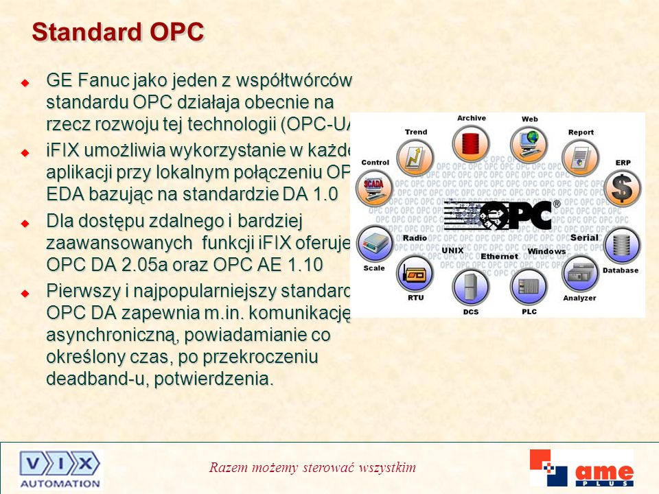 Standard OPCGE Fanuc jako jeden z współtwórców standardu OPC działaja obecnie na rzecz rozwoju tej technologii (OPC-UA)