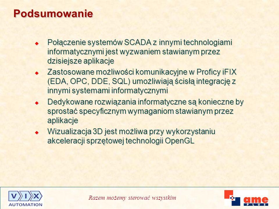 Podsumowanie Połączenie systemów SCADA z innymi technologiami informatycznymi jest wyzwaniem stawianym przez dzisiejsze aplikacje.