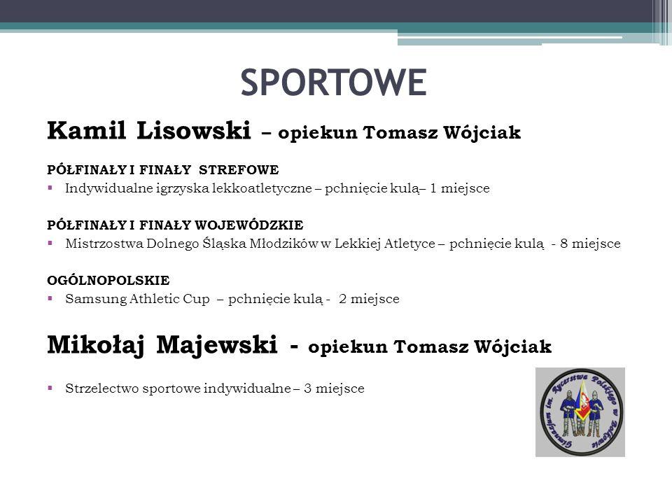 SPORTOWE Kamil Lisowski – opiekun Tomasz Wójciak