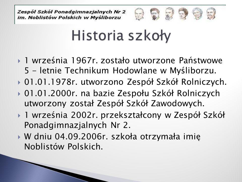Historia szkoły 1 września 1967r. zostało utworzone Państwowe 5 - letnie Technikum Hodowlane w Myśliborzu.