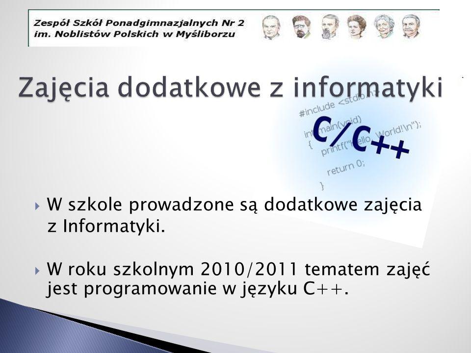 Zajęcia dodatkowe z informatyki