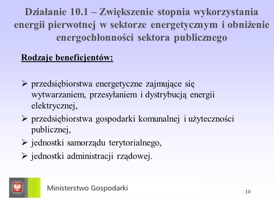 Działanie 10.1 – Zwiększenie stopnia wykorzystania energii pierwotnej w sektorze energetycznym i obniżenie energochłonności sektora publicznego