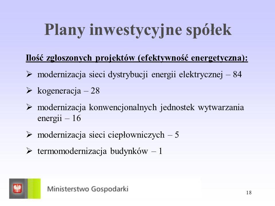 Plany inwestycyjne spółek