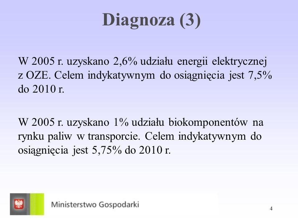 Diagnoza (3) W 2005 r. uzyskano 2,6% udziału energii elektrycznej z OZE. Celem indykatywnym do osiągnięcia jest 7,5% do 2010 r.