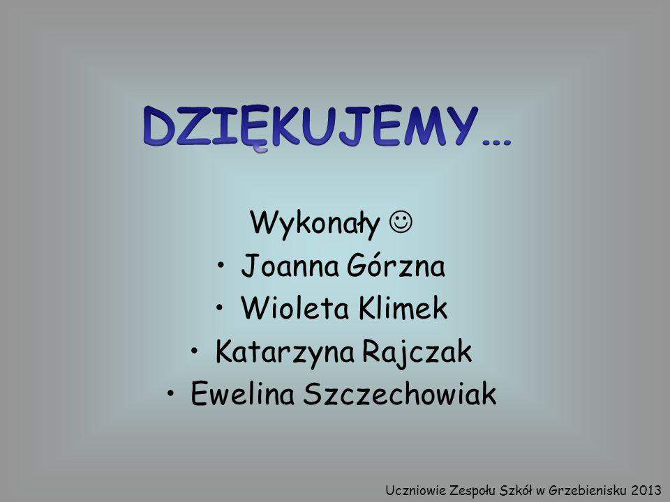 DZIĘKUJEMY… Wykonały  Joanna Górzna Wioleta Klimek Katarzyna Rajczak