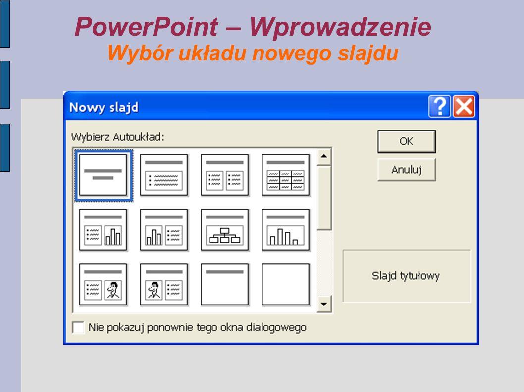PowerPoint – Wprowadzenie Wybór układu nowego slajdu