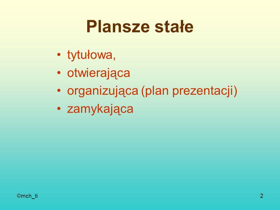 Plansze stałe tytułowa, otwierająca organizująca (plan prezentacji)