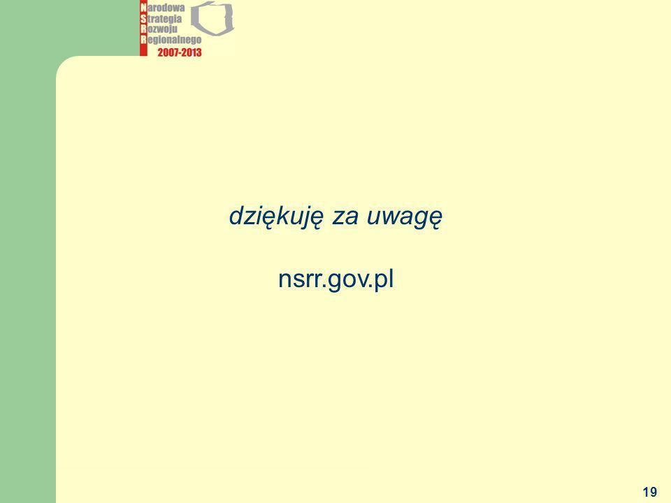 dziękuję za uwagę nsrr.gov.pl MGiP - DEPARTAMENT POLITYKI REGIONALNEJ
