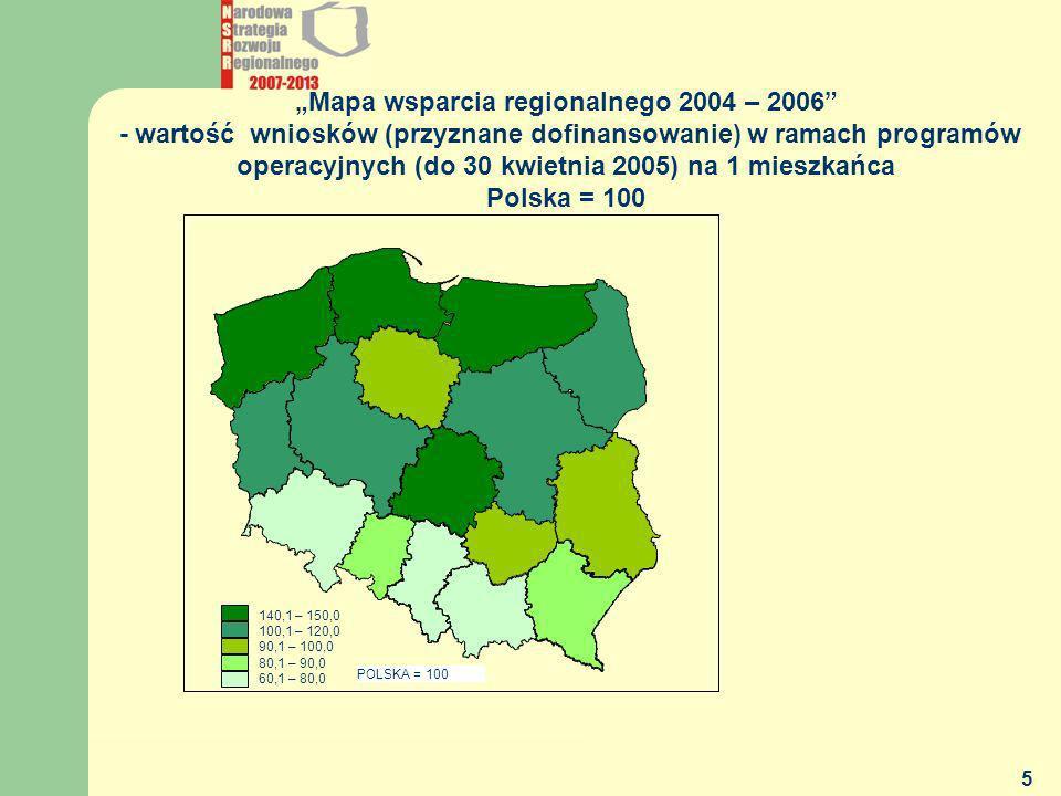 """""""Mapa wsparcia regionalnego 2004 – 2006 - wartość wniosków (przyznane dofinansowanie) w ramach programów operacyjnych (do 30 kwietnia 2005) na 1 mieszkańca"""