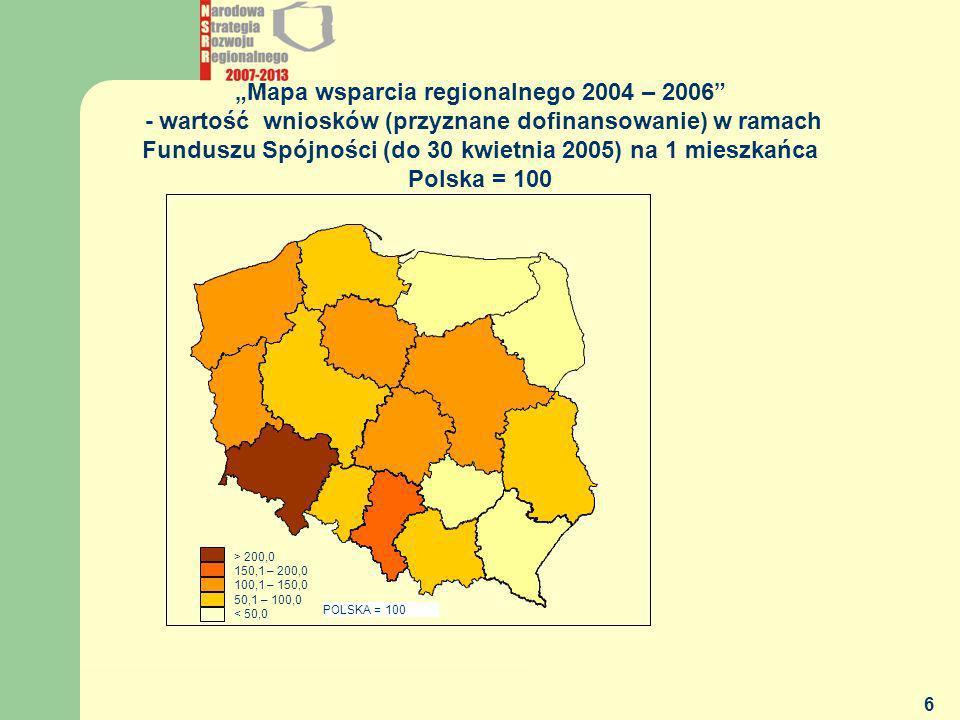 Funduszu Spójności (do 30 kwietnia 2005) na 1 mieszkańca