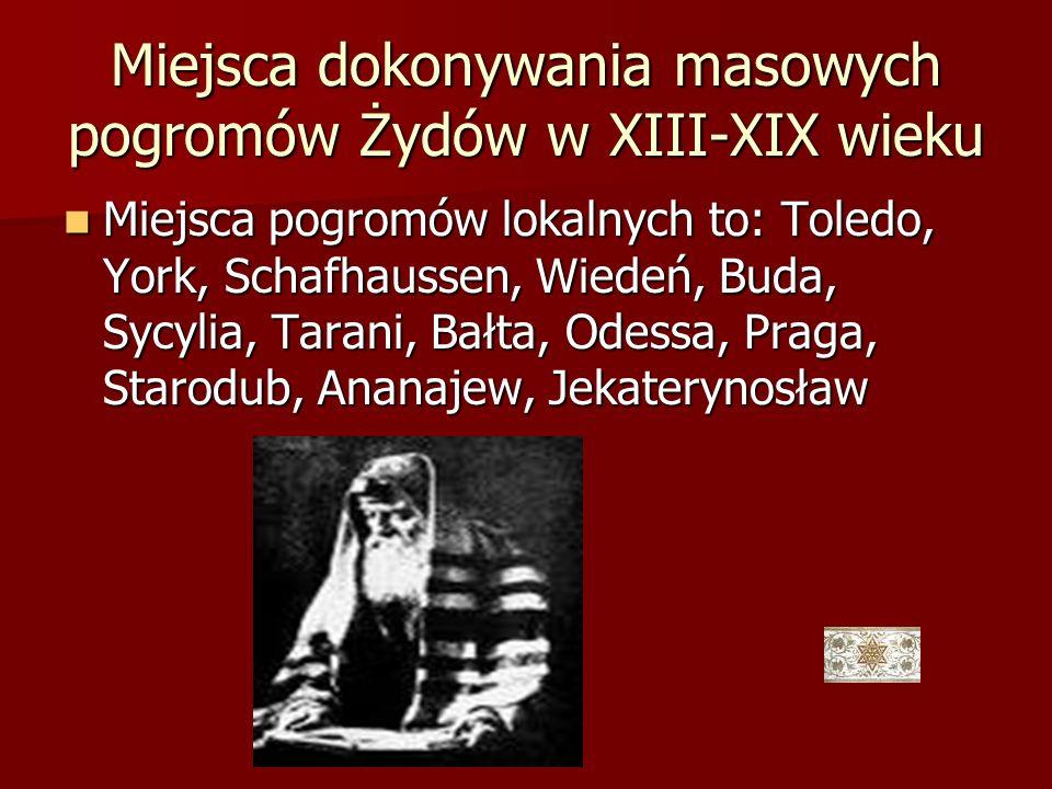 Miejsca dokonywania masowych pogromów Żydów w XIII-XIX wieku