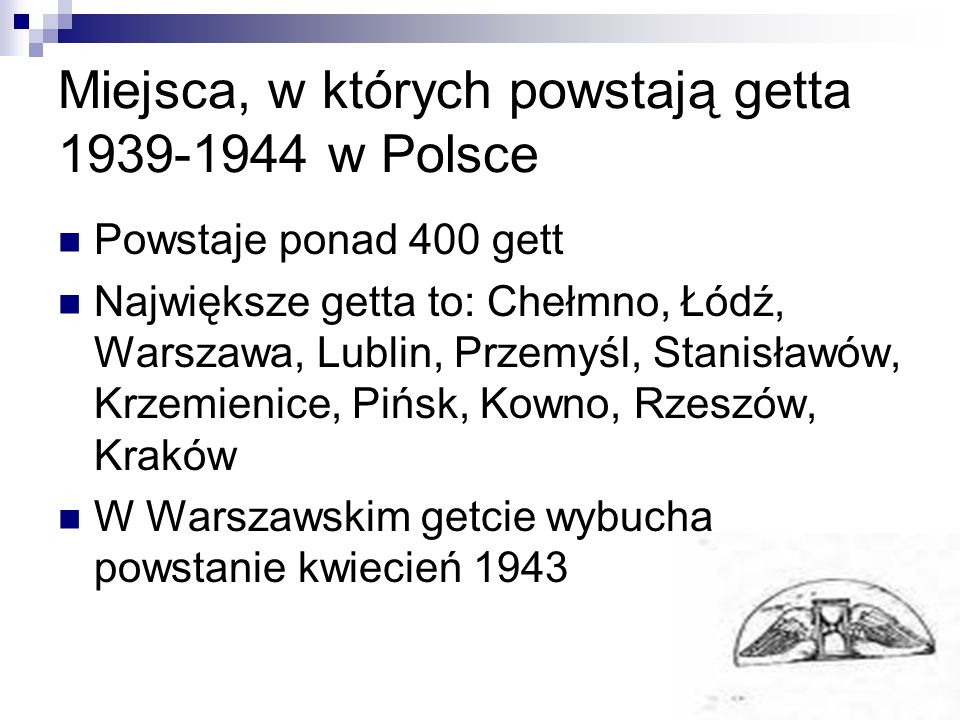 Miejsca, w których powstają getta 1939-1944 w Polsce
