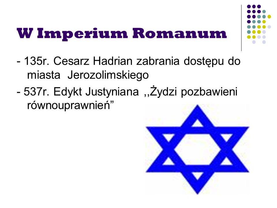 W Imperium Romanum - 135r. Cesarz Hadrian zabrania dostępu do miasta Jerozolimskiego.