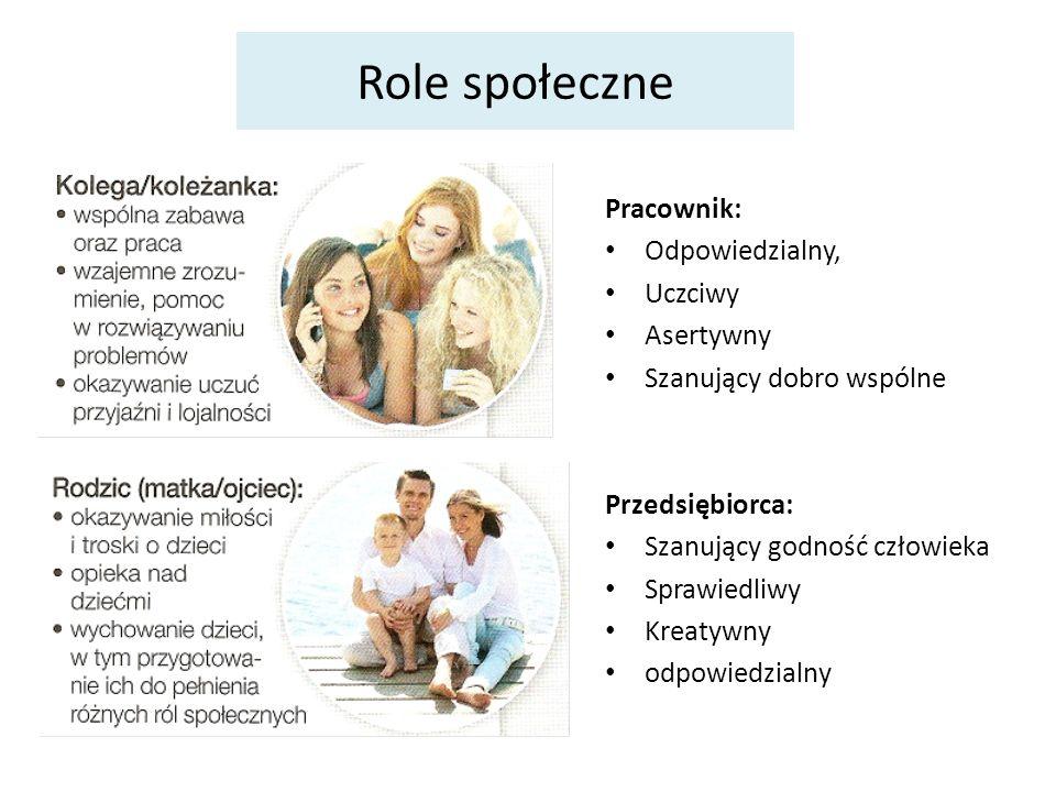 Role społeczne Pracownik: Odpowiedzialny, Uczciwy Asertywny