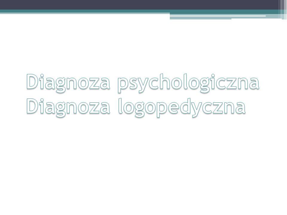 Diagnoza psychologiczna Diagnoza logopedyczna