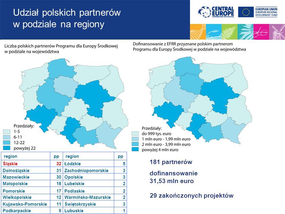 Udział polskich partnerów w podziale na regiony
