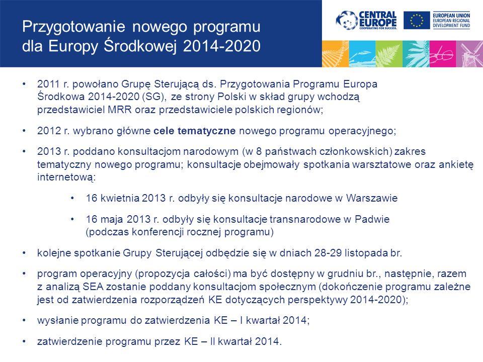 Przygotowanie nowego programu dla Europy Środkowej 2014-2020