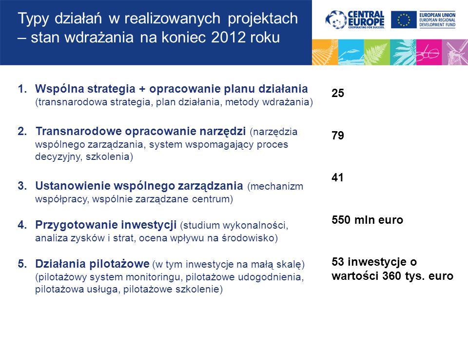 Typy działań w realizowanych projektach – stan wdrażania na koniec 2012 roku