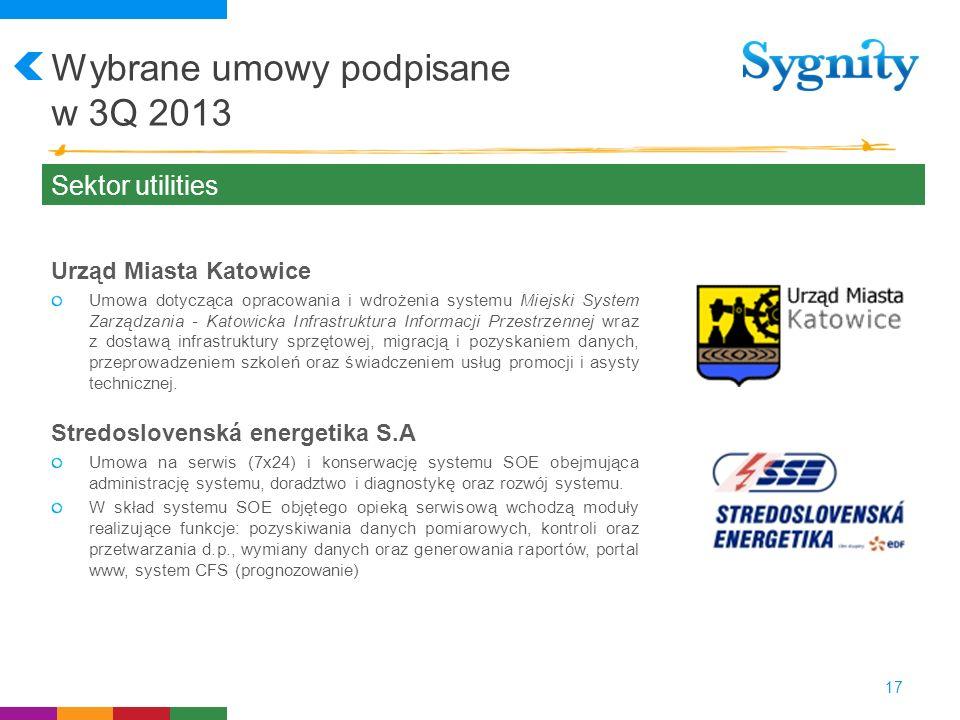 Wybrane umowy podpisane w 3Q 2013