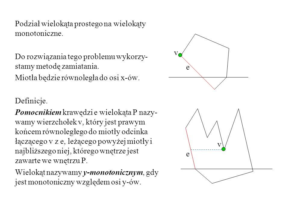 Podział wielokąta prostego na wielokąty monotoniczne.