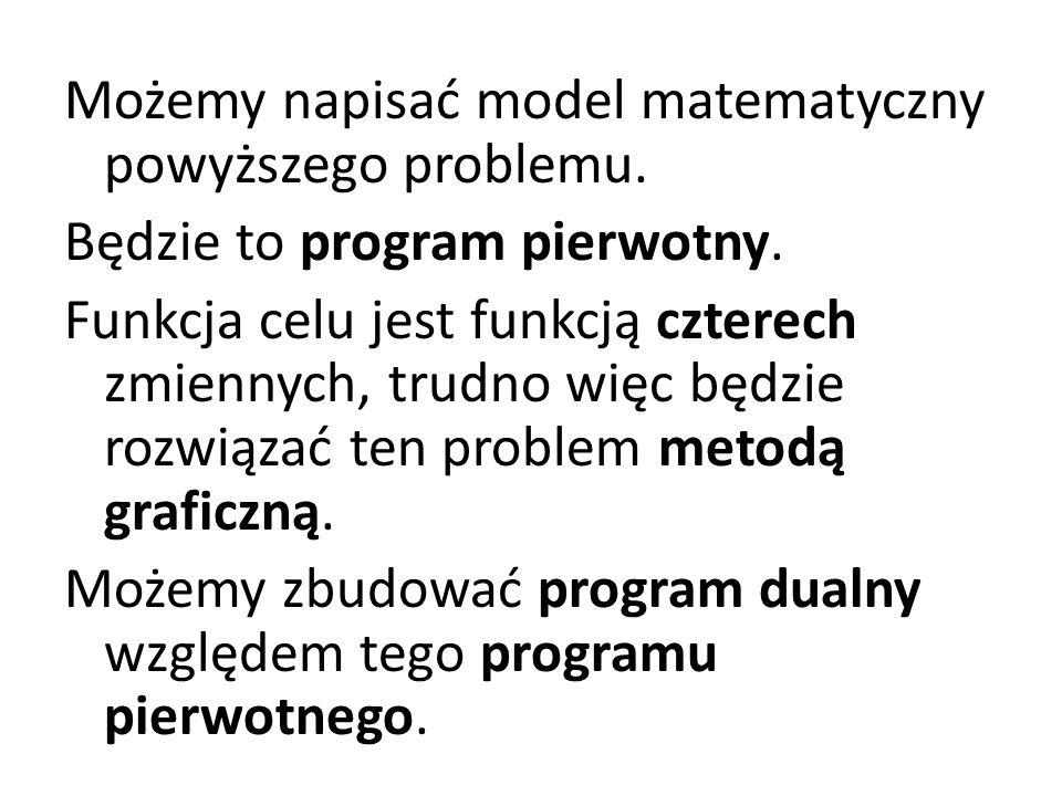 Możemy napisać model matematyczny powyższego problemu