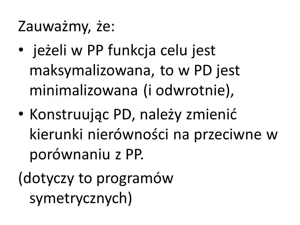 Zauważmy, że: jeżeli w PP funkcja celu jest maksymalizowana, to w PD jest minimalizowana (i odwrotnie),