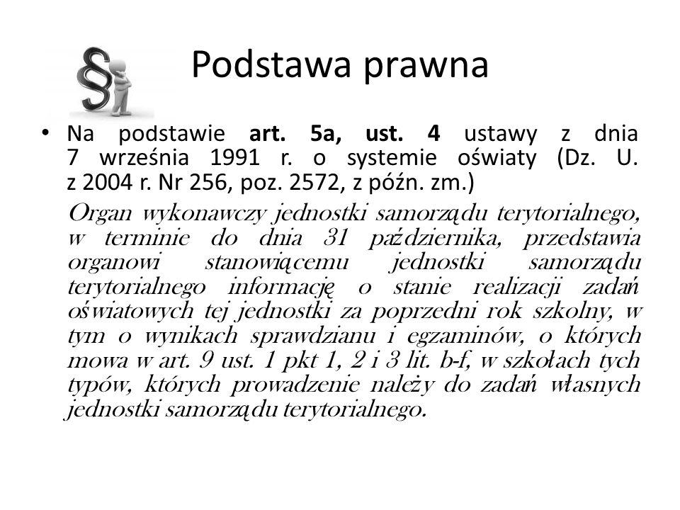 Podstawa prawnaNa podstawie art. 5a, ust. 4 ustawy z dnia 7 września 1991 r. o systemie oświaty (Dz. U. z 2004 r. Nr 256, poz. 2572, z późn. zm.)