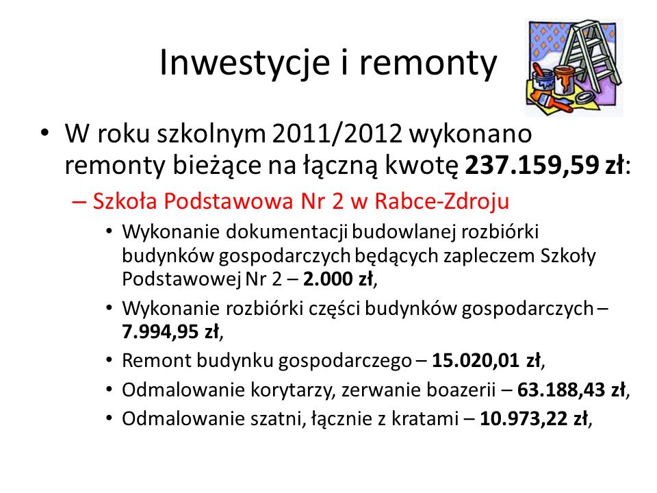 Inwestycje i remontyW roku szkolnym 2011/2012 wykonano remonty bieżące na łączną kwotę 237.159,59 zł: