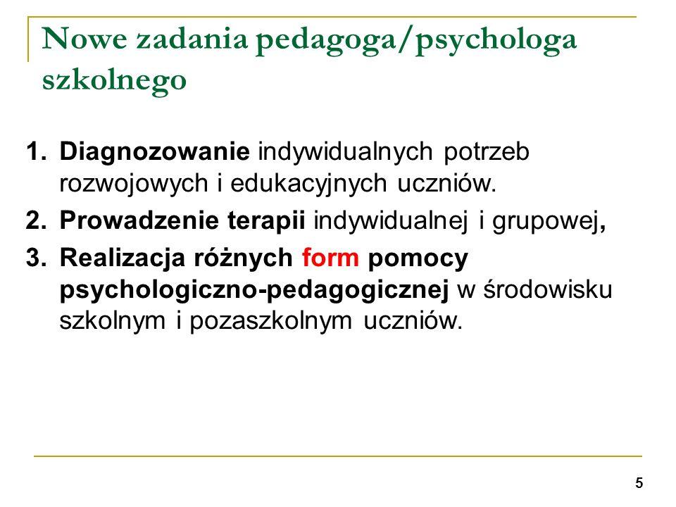 Nowe zadania pedagoga/psychologa szkolnego