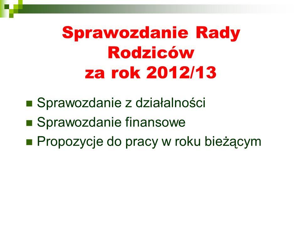 Sprawozdanie Rady Rodziców za rok 2012/13