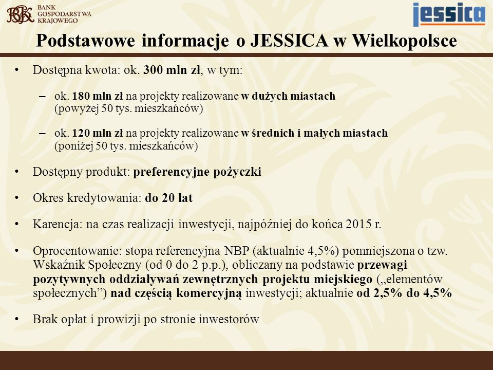 Podstawowe informacje o JESSICA w Wielkopolsce