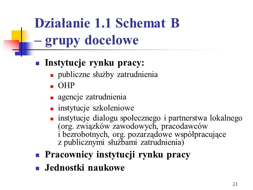 Działanie 1.1 Schemat B – grupy docelowe