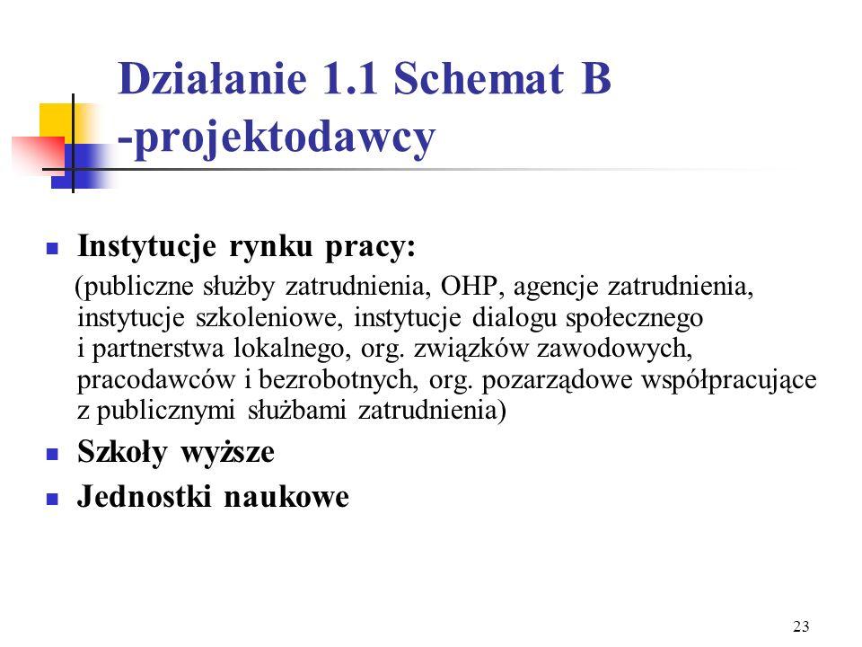 Działanie 1.1 Schemat B -projektodawcy