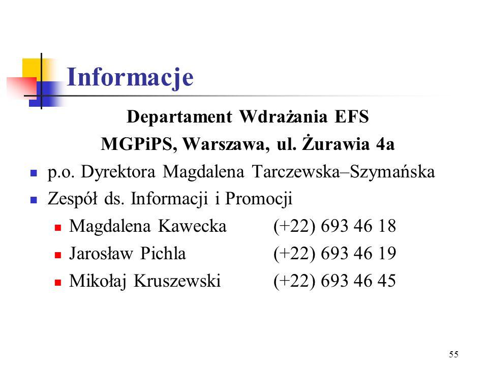 Departament Wdrażania EFS MGPiPS, Warszawa, ul. Żurawia 4a